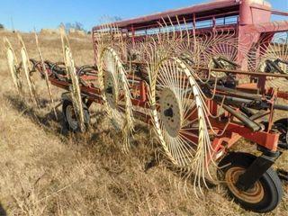 H S 12 Wheel Bi Fold hay rake