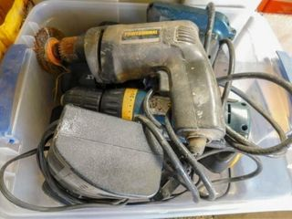 container of cordless chargers and drill bits