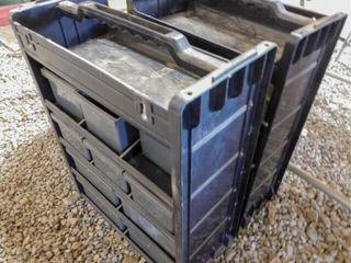 2  black sorting bins with hardware