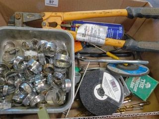 Box of hose clamps  bolt cutter  hand tools  etc