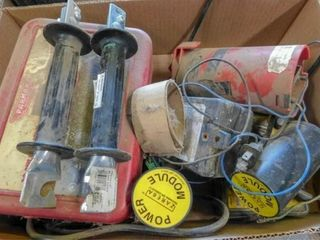 box of fence charger  gate handles  etc