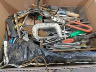 box of drill bits  C clamp  filter wrench  etc