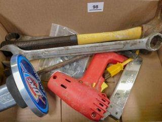 Box of hammer  wrench  110 vt staple gun  etc