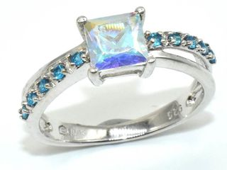 Silver Azotic Topaz Cz 3 1ct  Rhodium Plated Ring