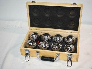 Chrome Bocce Balls in Wooden Case