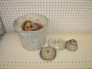 Pail of Assorted Pulleys