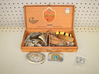 Cigar Box of Assorted Items   Belt Buckles  etc