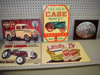Assorted Tin Signs and Framed Print