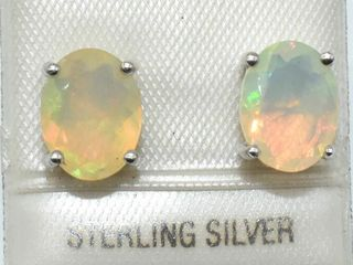 Silver Opal   Oval 9 7 Mm 1 95ct  Rhodium Plated