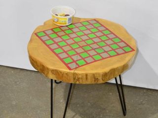 live Edge Game Board Table with Checkers Pieces