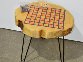 live Edge Game Board Table with Chess Pieces
