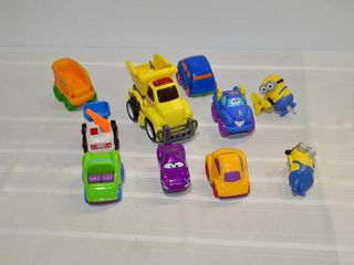 Box of Toy Cars and Minions Toys