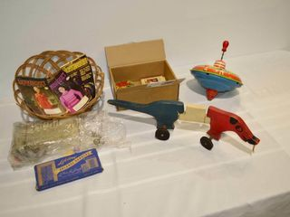 Grp  of Vintage Items   Toys  Knitting Magazines
