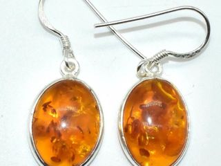 Silver Reconstitued Amber 3 05ct  Earrings