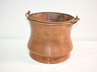 Heavy Solid Copper Pail 9  tall