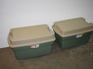 2  large Rubbermaid Storage Totes with Hinged lid