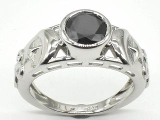 Silver Certified Black Moissanite   Round 7 5