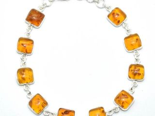 Silver Reconstitued Amber 6 7ct  Bracelet
