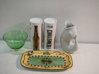 Christmas Tray   Bowl   2  Bottle Chillers