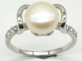Silver Pearl Cz 3 1ct  Rhodium Plated Ring