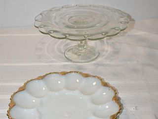Pedestal Cake Plate and Devilled Egg Tray