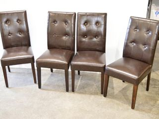 4  Vinyl Parsons Dining Chairs