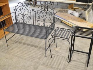 Metal Bench and  2  Side Tables