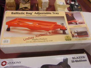 Ballistic bag adj  shooting tray