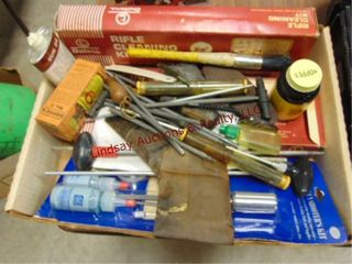Box of gun cleaning   other items