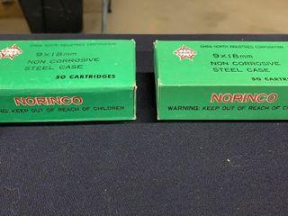2 boxes of Norinco 9x18 mm cartridges