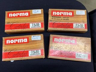 4 boxes of Norma 7 5x55 soft point cartridges