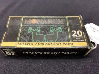 1 box of Monarch 243 Win cartridges