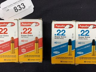 4 boxes of Aquila  22 super extra long rifle