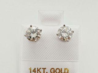 14K WHITE GOlD MOISSANITE 1 42CT  EARRINGS