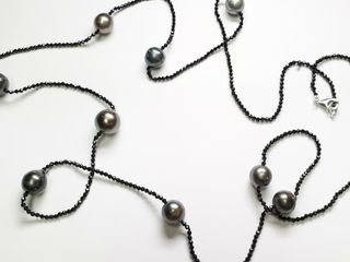 14K WHITE GOlD PEARl 11 12MM AND BlACK ONYX BEADS