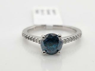 PlATINUM PT950 DIAMOND  1CT I1 TREATED BlUE RING