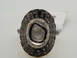 SIlVER DIAMOND 0 9CT  RING  SIZE 7   WEIGHT