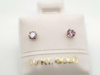 14K YEllOW GOlD PINK CZ EARRINGS  MADE IN CANADA