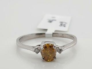 10K WHITE GOlD YEllOW DIAMOND 0 43CT  RING