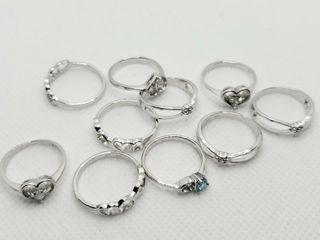 SIlVER PACK OF 10 RING  WEIGHT 17G