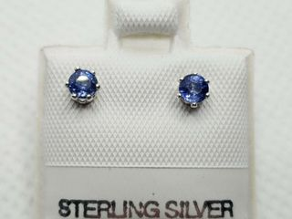 SIlVER SAPPHIRE 0 4CT  EARRINGS  MADE IN CANADA