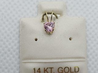 14K YEllOW GOlD PINK CZ PENDANT  MADE IN CANADA