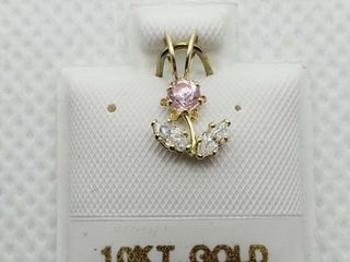 10K YEllOW GOlD CUBIC ZIRCONIA PENDANT  MADE IN