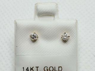14K YEllOW GOlD DIAMOND 0 18CT  EARRINGS  MADE