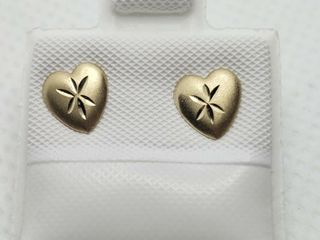 14K YEllOW GOlD DIAMOND CUT HEART EARRINGS  MADE