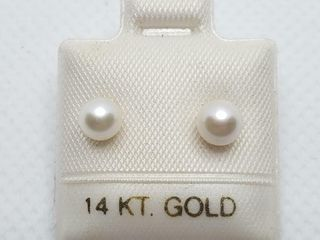 14K YEllOW GOlD CUlTURED PEARl 5 5 5MM EARRINGS