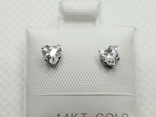 14K WHITE GOlD CUBIC ZIRCONIA EARRINGS  MADE IN