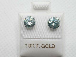 10K WHITE GOlD lIGHT BlUISH GREEN  1 5CT  EARRINGS
