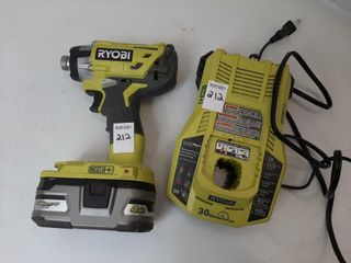RYOBI CORDlESS DRIVER WITH BATTERY AND CHARGER