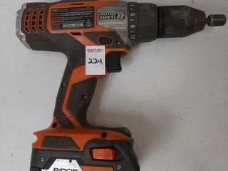 RIDGID CORDlESS DRIll WITH BATTERY  NO CHARGER